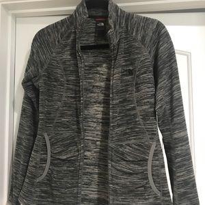NorthFace grey/white zippered jacket.